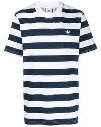 Camiseta con cuello circular de rayas horizontales en blanco y azul marino de adidas