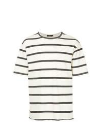 Camiseta con cuello circular de rayas horizontales en blanco y azul marino de Bassike
