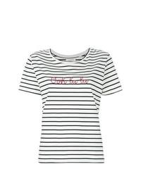 Camiseta con cuello circular de rayas horizontales en blanco y azul marino de Chinti & Parker