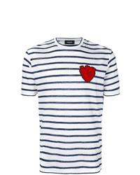 Camiseta con cuello circular de rayas horizontales en blanco y azul marino de DSQUARED2
