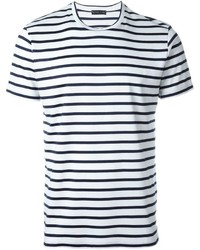Camiseta con cuello circular de rayas horizontales en blanco y azul marino de Etro