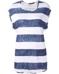 Camiseta con cuello circular de rayas horizontales en blanco y azul marino de Humanoid