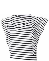 Camiseta con cuello circular de rayas horizontales en blanco y azul marino de Junya Watanabe