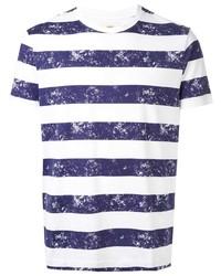 Camiseta con cuello circular de rayas horizontales en blanco y azul marino de Kent & Curwen