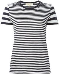 Camiseta con cuello circular de rayas horizontales en blanco y azul marino de MICHAEL Michael Kors