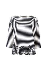 Camiseta con cuello circular de rayas horizontales en blanco y azul marino de Moncler