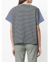 Camiseta con cuello circular de rayas horizontales en blanco y azul marino de Sofie D'hoore