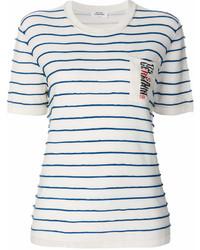 Camiseta con cuello circular de rayas horizontales en blanco y azul marino de Sonia Rykiel