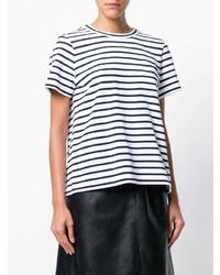 Camiseta con cuello circular de rayas horizontales en blanco y azul marino de Sacai