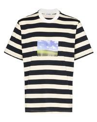 Camiseta con cuello circular de rayas horizontales en blanco y azul marino de Sunnei