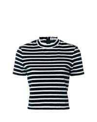 Camiseta con cuello circular de rayas horizontales en blanco y azul marino de T by Alexander Wang
