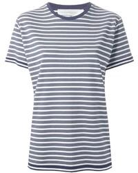 Camiseta con cuello circular de rayas horizontales en blanco y azul marino de Victoria Beckham