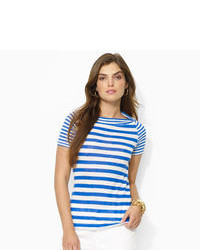 Camiseta con cuello circular de rayas horizontales en blanco y azul