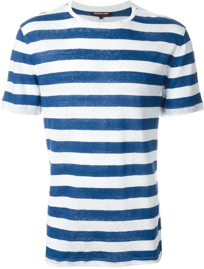 Camiseta con cuello circular de rayas horizontales en blanco y azul de Michael Kors