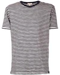 Camiseta con cuello circular de rayas horizontales en blanco y negro
