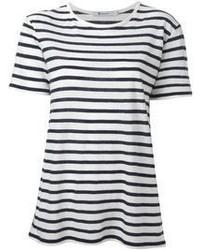 Camiseta con cuello circular de rayas horizontales en blanco y negro de Alexander Wang
