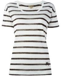 Camiseta con cuello circular de rayas horizontales en blanco y negro de Burberry