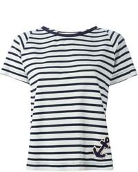 Camiseta con cuello circular de rayas horizontales en blanco y negro de Cavallini