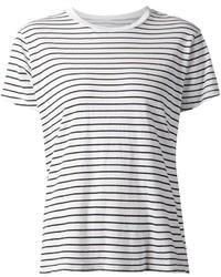 Camiseta con cuello circular de rayas horizontales en blanco y negro de Current/Elliott