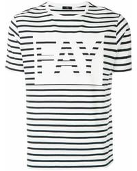 Camiseta con cuello circular de rayas horizontales en blanco y negro de Fay