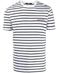Camiseta con cuello circular de rayas horizontales en blanco y negro de Karl Lagerfeld