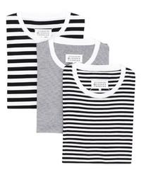 Camiseta con cuello circular de rayas horizontales en blanco y negro de Maison Margiela