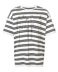 Camiseta con cuello circular de rayas horizontales en blanco y negro de Mostly Heard Rarely Seen