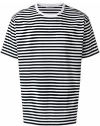 Camiseta con cuello circular de rayas horizontales en blanco y negro de Nanamica