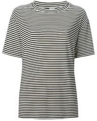 Camiseta con cuello circular de rayas horizontales en blanco y negro de Norma Kamali
