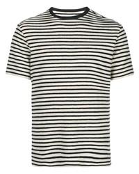 Camiseta con cuello circular de rayas horizontales en blanco y negro de Officine Generale