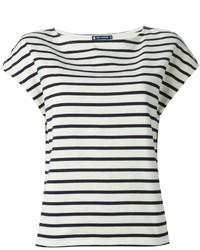 Camiseta con cuello circular de rayas horizontales en blanco y negro de Petit Bateau