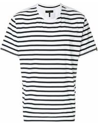 Camiseta con cuello circular de rayas horizontales en blanco y negro de rag & bone