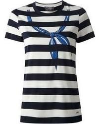 Camiseta con cuello circular de rayas horizontales en blanco y negro de Salvatore Ferragamo