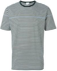 Camiseta con cuello circular de rayas horizontales en blanco y negro de Sunspel
