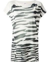 Camiseta con cuello circular de rayas horizontales en blanco y negro de Tsumori Chisato