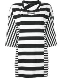Camiseta con cuello circular de rayas horizontales en blanco y negro de Y-3