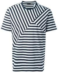 Camiseta con cuello circular de rayas horizontales en blanco y negro de Z Zegna