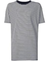 Camiseta con cuello circular de rayas horizontales en blanco y negro de Zanerobe