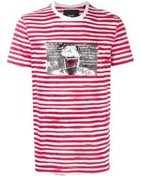 Camiseta con cuello circular de rayas horizontales en blanco y rojo de Blood Brother