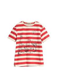 Camiseta con cuello circular de rayas horizontales en blanco y rojo de Burberry