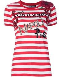 Camiseta con cuello circular de rayas horizontales en blanco y rojo de Dolce & Gabbana