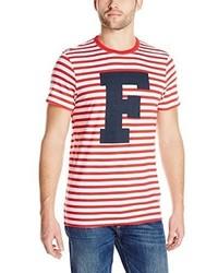 Camiseta con cuello circular de rayas horizontales en blanco y rojo de French Connection