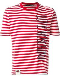 Camiseta con cuello circular de rayas horizontales en blanco y rojo de Love Moschino