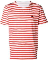 Camiseta con cuello circular de rayas horizontales en blanco y rojo de Societe Anonyme