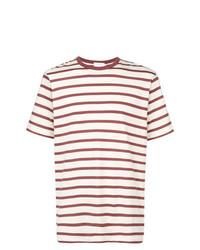 Camiseta con cuello circular de rayas horizontales en blanco y rojo de Sunspel
