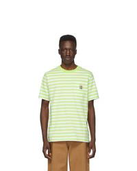 Camiseta con cuello circular de rayas horizontales en blanco y verde