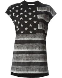 Camiseta con cuello circular de rayas horizontales en gris oscuro de Givenchy