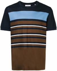 Camiseta con cuello circular de rayas horizontales en marrón oscuro de Cerruti