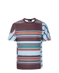 Camiseta con cuello circular de rayas horizontales en multicolor de Kolor
