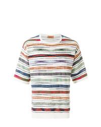 Camiseta con cuello circular de rayas horizontales en multicolor de Missoni